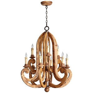"Ashford Collection 9-Light 37"" Provincial Wood Grain Chandelier 6163-9-23"