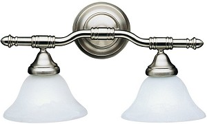 "Brushed Nickel 2-Light 18"" Vanity Light with Alabaster Swirl Glass 6292NI"