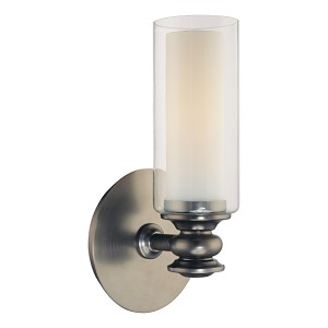 "Harvard Ct. Collection 1-Light 10"" Harvard Ct. Bronze Wall Sconce with Clear and Etched Opal Glass 6361-281"