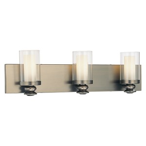 "Harvard Ct. Collection 3-Light 23"" Harvard Ct. Bronze Bath Vanity Fixture with Clear and Etched Opal Glass 6363-281"