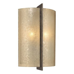 "Clarte Collection 2-Light 14"" Patina Iron Wall Sconce with Deep Spumanti Lace Glass 6390-573"