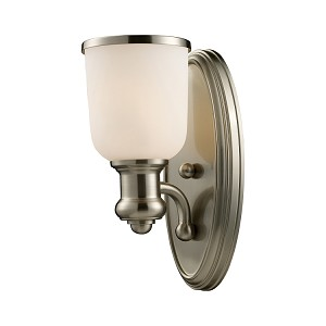 "Brooksdale Collection 1-Light 13"" Satin Nickel Wall Sconce with White Glass 66160-1"