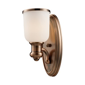 "Brooksdale Collection 1-Light 13"" Antique Copper Wall Sconce with White Glass 66180-1"