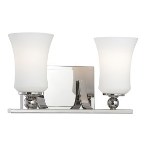 "Ameswood Collection 2-Light 13"" Polished Nickel Wall Sconce with Etched Opal Glass Shade 6622-613"