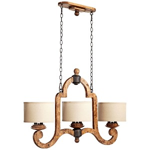 "Ashford Collection 6-Light 40"" Provincial Wood Grain Island Chandelier with Oatmeal Drum Shades 6663-6-23"