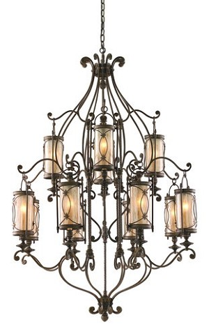 "St. Moritz Collection 12-Light 60"" Moritz Bronze Wrought Iron Chandelier with Tea Stain Glass 67-012"