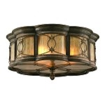 "St. Moritz Collection 3-Light 20"" Moritz Bronze Wrought Iron Flush Mount with Tea Stain Glass 67-34"