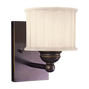 "1730 Series Collection 1-Light 8"" Lathan Bronze Wall Sconce with Etched Glass-Box Pleat 6731-167"