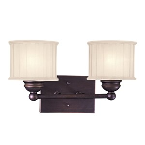 "1730 Series Collection 2-Light 14"" Lathan Bronze Wall Sconce with Etched Glass-Box Pleat 6732-167"