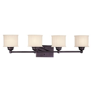 "1730 Series Collection 4-Light 32"" Lathan Bronze Bath Vanity Fixture with Etched Glass-Box Pleat 6734-167"