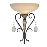 "Bellasera Collection 1-Light 17"" Castlewood Walnut and Silver Highlights Wall Sconce with Ivory Cloud Glass 6770-301"