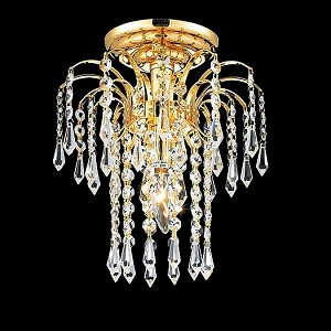 Waterfall Design 1-Light Gold or Chrome Ceiling Flush Mount Mini Light Fixture with European or Swarovski Crystals SKU# 10507