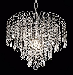 "Waterfall Design 3-Light 14"" Gold or Chrome Mini Chandelier with European or Swarovski Crystals SKU# 10500"