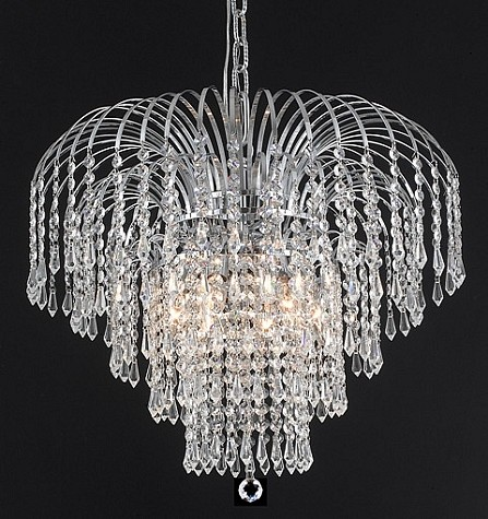 Waterfall Design 6-Light Gold or Chrome Chandelier Dressed with European or Swarovski Crystals SKU# 10503