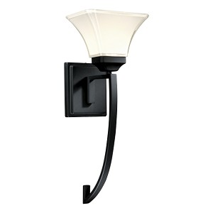 "Agilis Collection 1-Light 20"" Black Wall Sconce with Lamina Blanca Glass 6810-66"