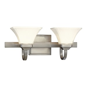 "Agilis Collection 2-Light 21"" Brushed Nickel Wall Sconce with Lamina Blanca Glass 6812-84"