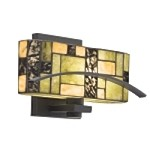 "Bayonne Collection 1-Light 12"" Satin Black Wall Sconce with Cut Stone Shade 69092"
