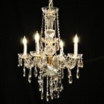 "Victorian Design 4-Light 25"" Gold Petite Chandelier with European or Swarovski Crystal SKU# 41559"
