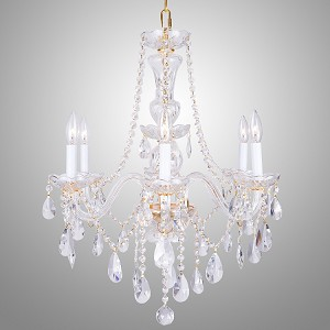 "Victorian Design 6-Light 25"" Gold Chandelier with European or Swarovski Spectra Crystals SKU# 41556"