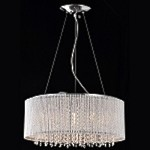 10 Light Shaded Crystal Pendant Chandelier in Chrome Finish with Crystal - Joshua Marshal 7015-001