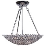 6 Light Bowl Shape Pendant Light in Chrome Finish with Clear Crystal - Joshua Marshal 7017-001