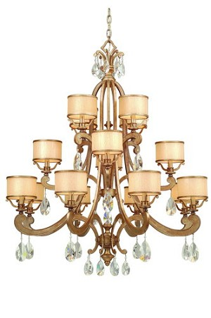 "Roma Collection 16-Light 48"" Antique Roman Silver Chandelier with Cream Ice Glass and Crystal Accents 71-016"