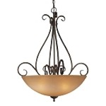 "Caspian Collection 4-Light 32"" Golden Bronze Pendant with Caspian Glass 724-355"