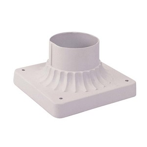 "White 6"" Square Outdoor Pier Mount Adapter Base 7507-03"