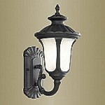 "Oxford Collection 1-Light 18"" Black Outdoor Wall Lantern with Iced Cased Glass 7652-04"