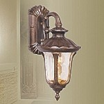 "Oxford Collection 1-Light 16"" Moroccan Gold Outdoor Wall Lantern with Amber Water Glass 7651-50"