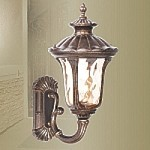"Oxford Collection 1-Light 18"" Moroccan Gold Outdoor Wall Lantern with Amber Water Glass 7652-50 Cast Aluminum Moroccan Gold Outdoor Wall Lantern 7652-50"