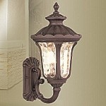"Oxford Collection 1-Light 18"" Imperial Bronze Outdoor Wall Lantern with Amber Water Glass 7650-58"