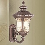"Oxford Collection 3-Light 22"" Moroccan Gold Outdoor Wall Lantern with Amber Water Glass 7656-50"