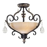 "Bellasera Collection 2-Light 18"" Castlewood Walnut and Silver Highlights Semi-Flush with Ivory Cloud Glass 770-301"