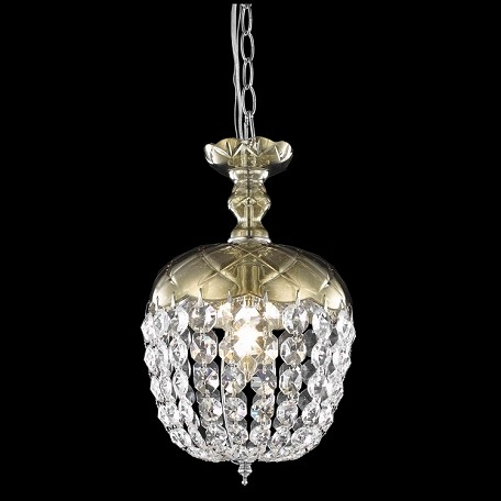 "Rococo Collection 1-Light 13"" Golden Teak Smoky Mini Crystal Pendant Chandelier 7801D8GT/RC"