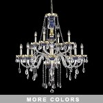 "Victorian Design 12-Light 38"" Gold with Red, Green, or Blue Chandelier with European or 30% Lead Crystals SKU# 10514"