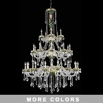 "Victorian Design 30-Light 62"" Gold with Red, Green, or Blue Chandelier with European or Swarovski Crystals SKU# 10516"