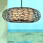 "Cesto Collection 5-Light 24"" Napoli Bronze Pendant with Cream Linen Shade 79-45"