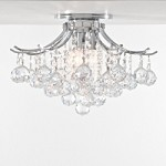 "Contour Design 3-Light 16"" Gold or Chrome Ceiling Flush Mount with European or Swarovski Spectra Crystal Strands SKU# 10526"