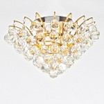"Flamingo Design 6-Light 16"" Gold or Chrome Ceiling Flush Mount with European or Swarovski Crystals SKU* 10538"