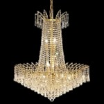 "Flamingo Design 16-Light 32"" Gold or Chrome Chandelier with European or Swarovski Crystals # 10542"