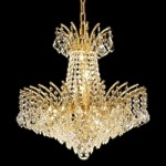 "Flamingo Design 8-Light 19"" Gold or Chrome Mini Chandelier with European or Swarovski Crystals SKU# 10546"