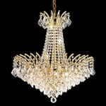 "Flamingo Design 11-Light 24"" Gold or Chrome Chandelier with European or Swarovski Crystals SKU# 10547"