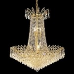 "Flamingo Design 16-Light 32"" Gold or Chrome Chandelier with European or Swarovski Crystals SKU# 10548"