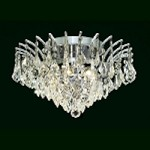 "Flamingo Design 6-Light 16"" Gold or Chrome Ceiling Flush Mount with European or Swarovski Crystals SKU# 11114"
