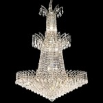 "Flamingo Design 18-Light 42"" Gold or Chrome Entryway Chandelier with European or Swarovski Crystals SKU# 10549"