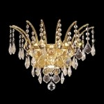 "Flamingo Design 3-Light 16"" Gold or Chrome Wall Sconce with European or Swarovski Crystals SKU# 10550"