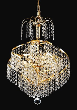 "Spiral Collection 3-Light 14"" Chrome Mini Chandelier with Royal Cut Crystal 8053D14C/RC"