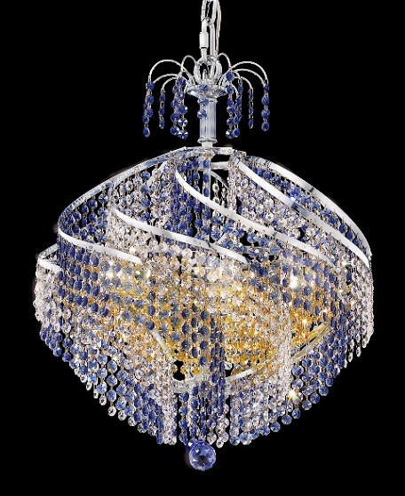 "Helios Design 10-Light 22"" Chrome or Gold Mini Chandelier with European or Swarovski Crystals SKU# 10562"