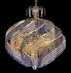 "Helios Design 15-Light 26"" Chrome or Gold Chandelier with Colored or Clear European Crystals SKU# 10563"